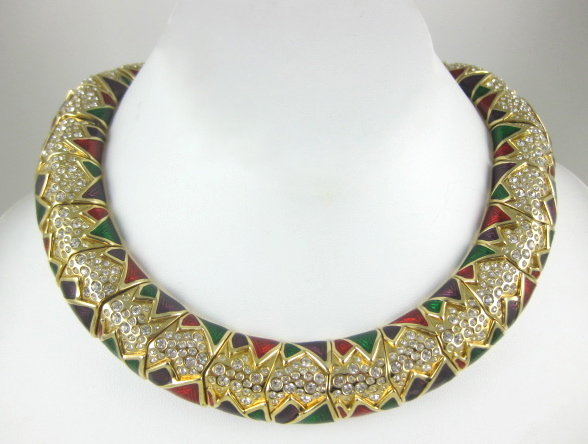 Beautiful Swarovski Enamel & Rhinestone Necklace