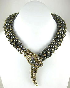 Sensational Iradj Moini Pearl Snake Serpent Necklace