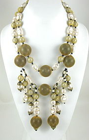 Unusual Erickson Beamon Dangling Pearl Bib Necklace