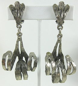 Unusual Silvertone Modernist Scroll Earrings