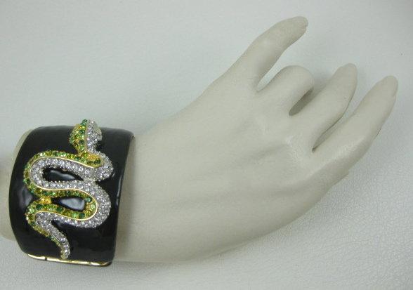 Kenneth Jay Lane Enamel Rhinestone Snake Bracelet
