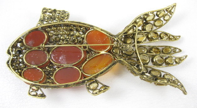 Whimsical C & D Citrine Carnelian Fish Pin