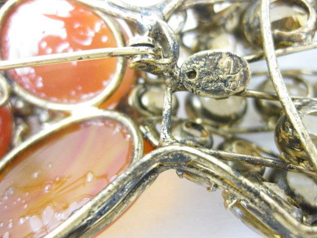 Whimsical C & D Citrine Carnelian Fish Pin