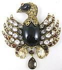 C & D Garnet Citrine Topaz Heraldic Bird Pin