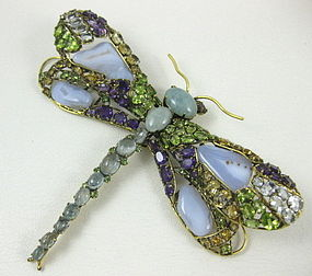 Dramatic C&D Peridot Citrine Amethyst Dragonfly Pin