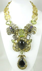 Magnificent C&D Citrine and Topaz Bib Necklace
