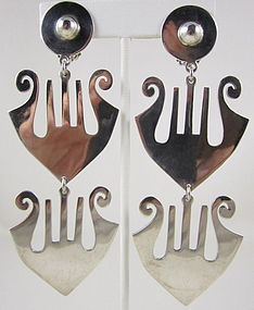 Dramatic Mexican Silver Dangling Lyre Earrings