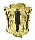 Nada Sawaya Gold Black Alligator Caiman Cuff Bracelet