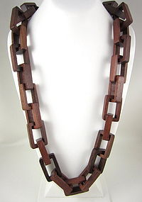 Fun Kenneth Lane Geometric Wood Link Necklace