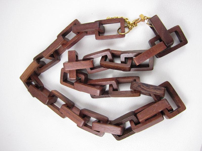 Fun Kenneth Lane Geometric Wood Link Necklace