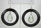 Wood Sterling and Rock Crystal Hoop Earrings