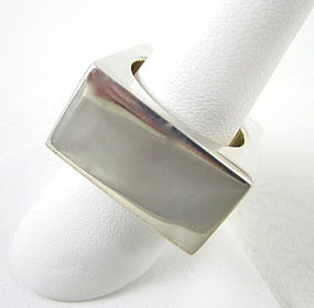 Sikara Heavy Sterling Modernist Square Ring
