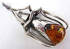 Unusual Sterling Amber Modernist Bug Pendant