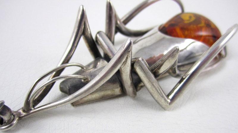 Unusual Sterling Amber Modernist Bug Pendant