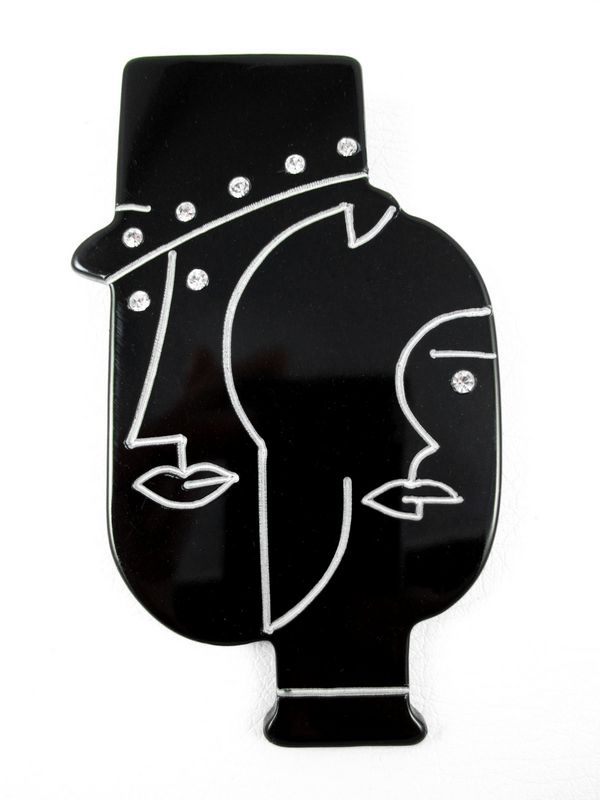 French Deco-Inspired Man Woman Black Resin Pin