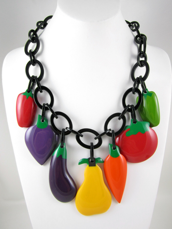 French Resin Fruit & Veggies Charm Necklace