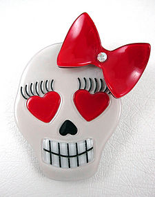 Sweet French Resin Day of The Dead Girly Skull Pin