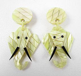Lea Stein-Style French Resin Elephant Clip Earrings