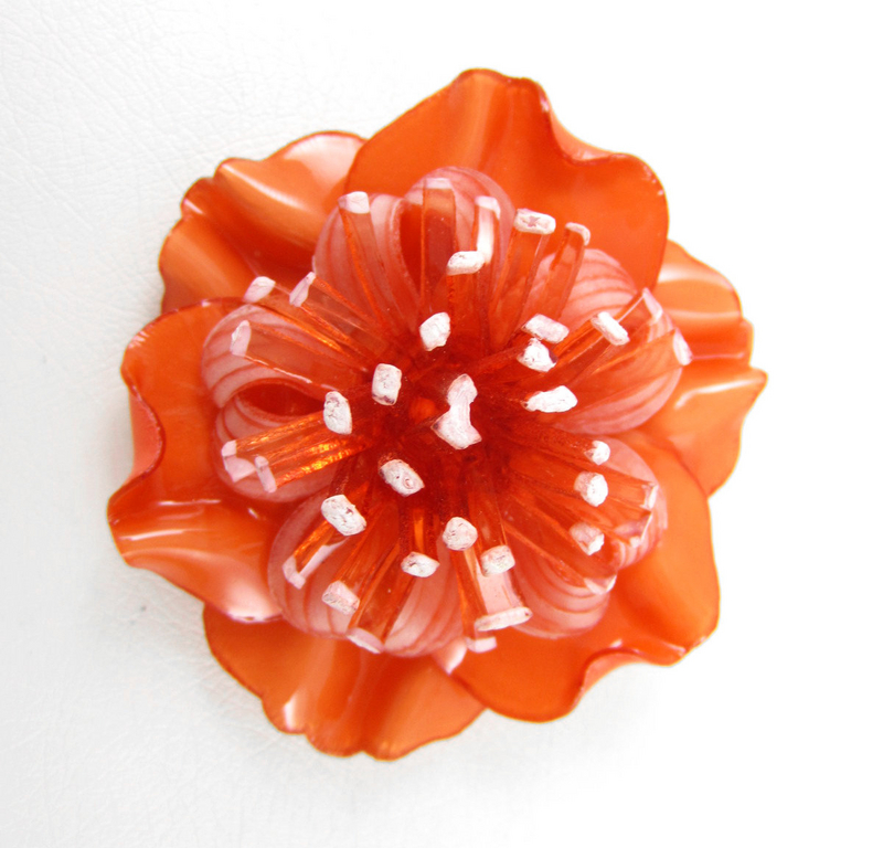 Cilea French Resin Orange Blooming Flower Pin