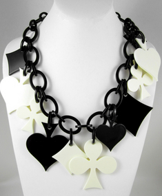 French Resin Black & Cream Card Suit Necklace