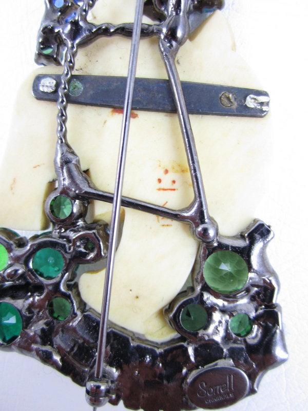 Stunning Robert Sorrell Ivory Geisha Rhinestone Pin