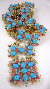 Amazing Kenneth Jay Lane Turquoise Jeweled Belt