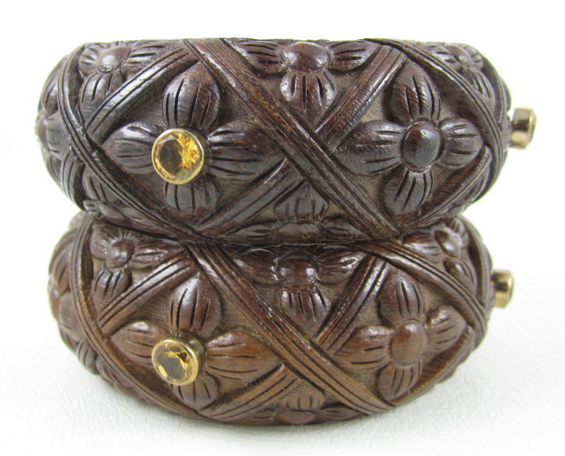 Beautiful Stephen Dweck Wood Sterling Citrine Bracelets