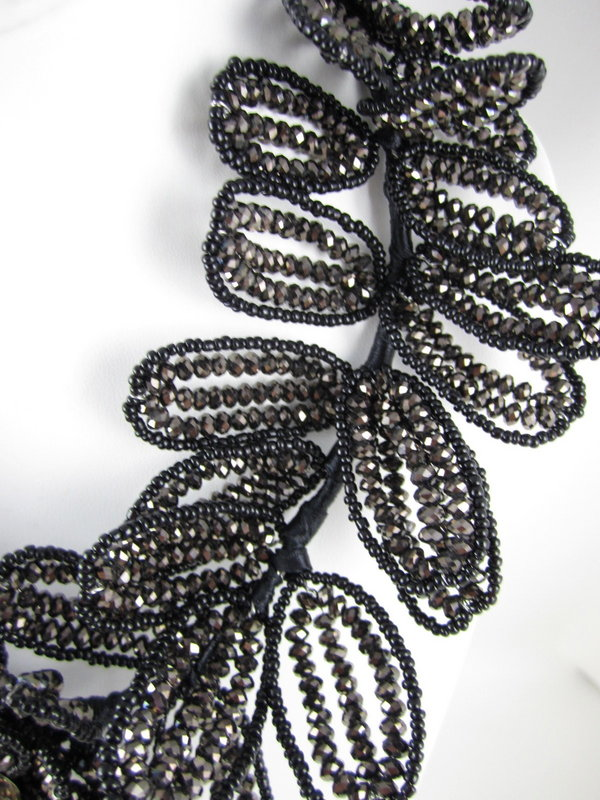 Gorgeous Jet Hematite Glass Beaded Flower Necklace