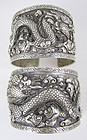 Amazing Antique Tibetan Silver Dragon Bracelets