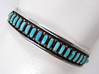 Lawrence Lonasee Zuni Sterling Turquoise Bracelet