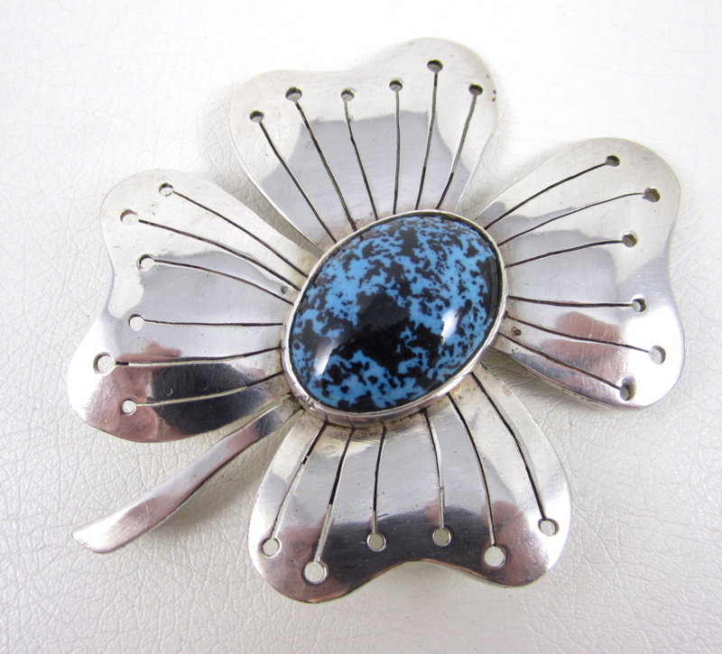 Unique Los Castillo Ceramica Sterling Plate Flower Pin