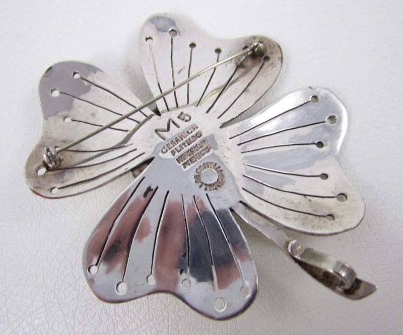 Unique Los Castillo Ceramica Sterling Plate Flower Pin