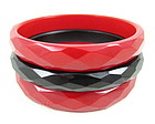 Bakelite Black & Red Faceted Bangle Bracelets