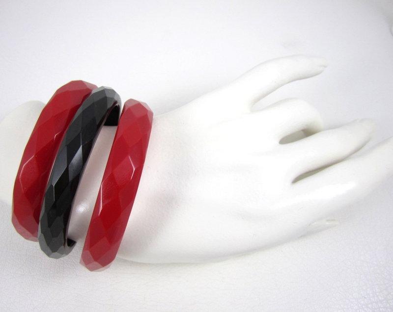 Bakelite Black & Red Faceted Bangle Bracelets