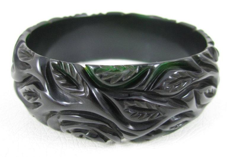 Beautiful Heavy Carved Deep Green Bakelite Bracelet