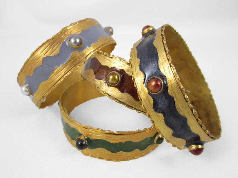 Green Felipe Barbosa Gold Vermeil Bangle Bracelet