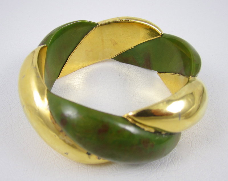 Unusual Bakelite Clad Rope Twist Bracelet