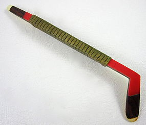 Charming Vintage Wood & Celluloid Hockey Stick Pin