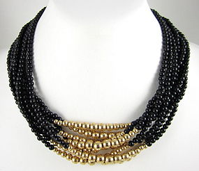 Sophisticated Onyx & 14K Gold Bead Necklace
