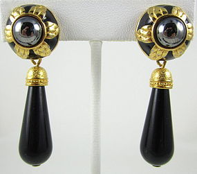Chic Fendi Black & Gold Hematite Earrings