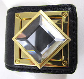 Unusual Marc Jacobs Crystal and Leather Bracelet