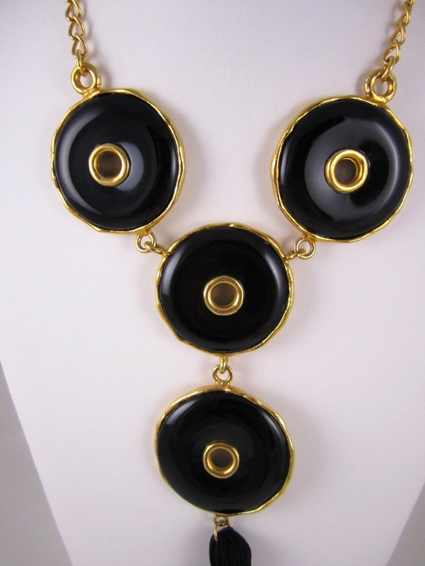 Unusual Kenneth Jay Lane Black & Gold Tassel Necklace