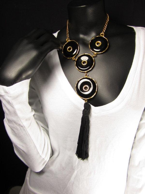 Unusual Kenneth Jay Lane Black & Gold Tassel Necklace