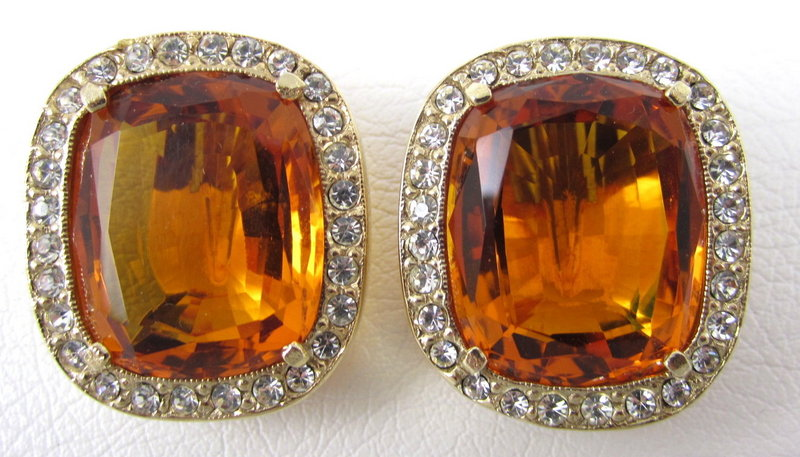 Dramatic Citrine Rhinestone Headlight Earrings