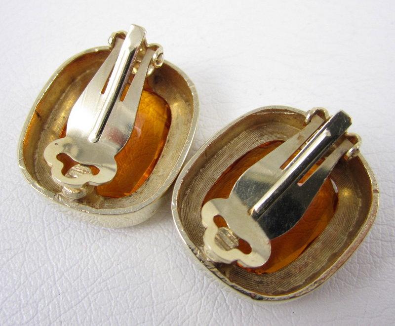 Dramatic Citrine Rhinestone Headlight Earrings