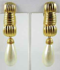Classic Fendi Gold Faux Pearl Drop Earrings