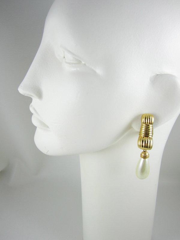 Classic Fendi Gold Faux Pearl Drop Earrings
