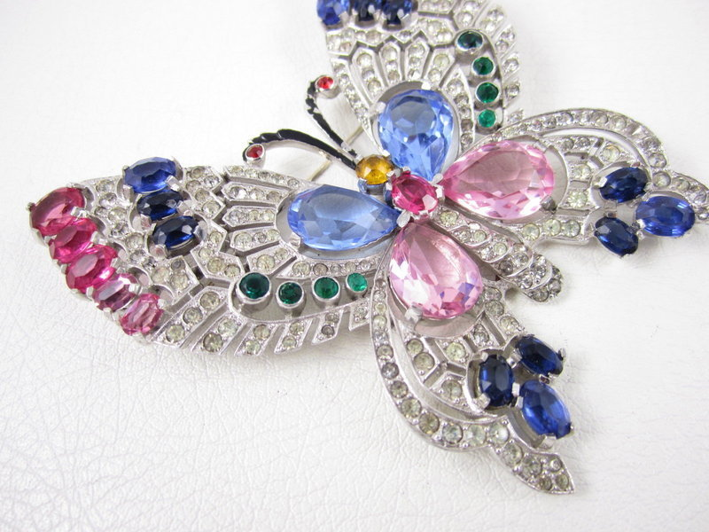 Rare Mazer Pave Multi Color Rhinestone Butterfly Pin
