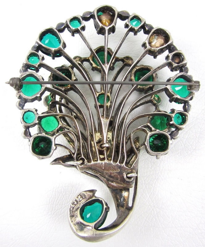 Eisenberg Originals Green Rhinestone Sterling Pin