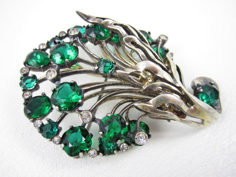 Eisenberg Originals Green Rhinestone Sterling Pin